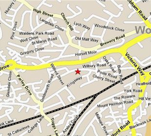 Detailed map showing our location in Goldsworth Road, Woking.